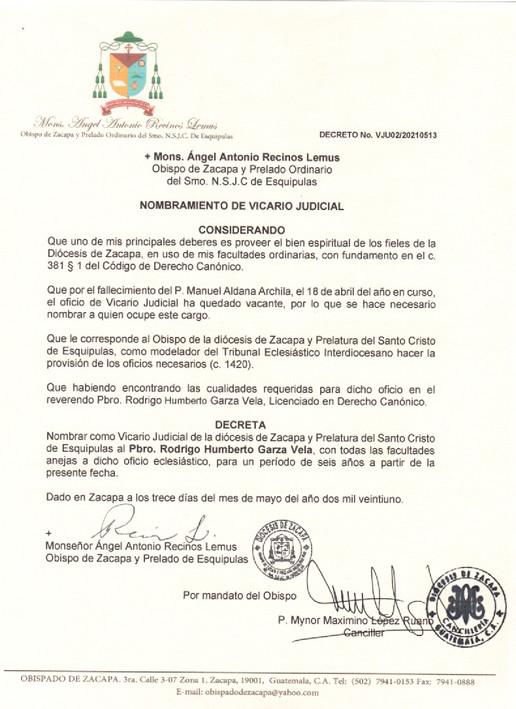 Nombramiento Vicario Judicial Diócesis de Zacapa y Prelatura del Santo Cristo de Esquipulas