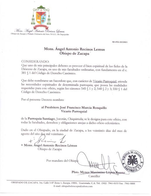 Nombramiento Vicario Parroquia Santiago Jocotán, Chiquimula