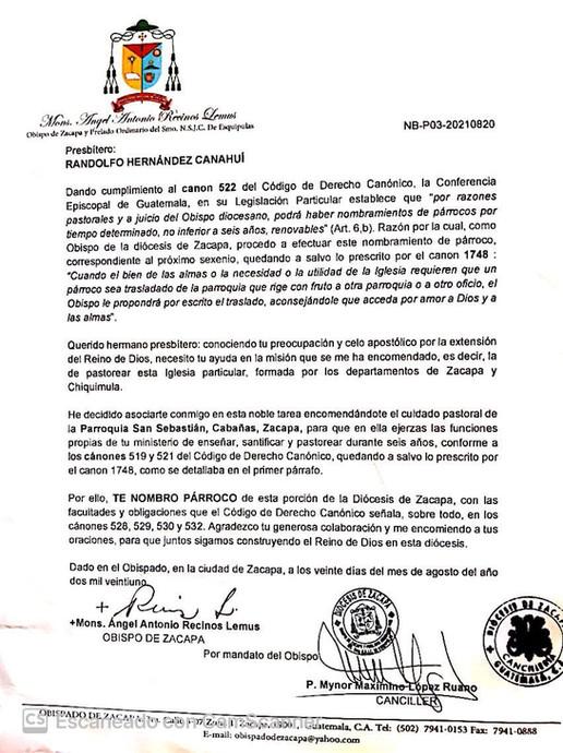Nombramiento Parroquia San Sebastián Cabañas, Zacapa