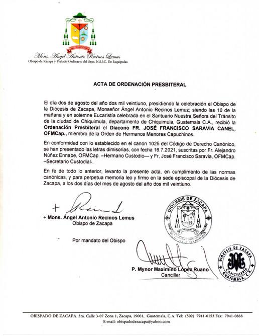 Acta de Ordenación Presbiteral