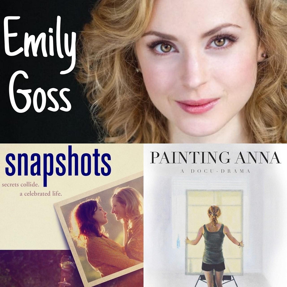 Collage of Emily Goss and posters for Snapshots and Painting Anna