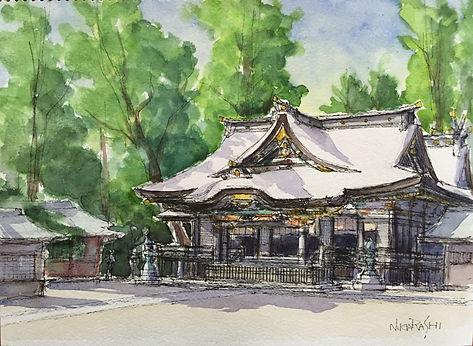 三本杉と拝殿(香取神宮).JPG