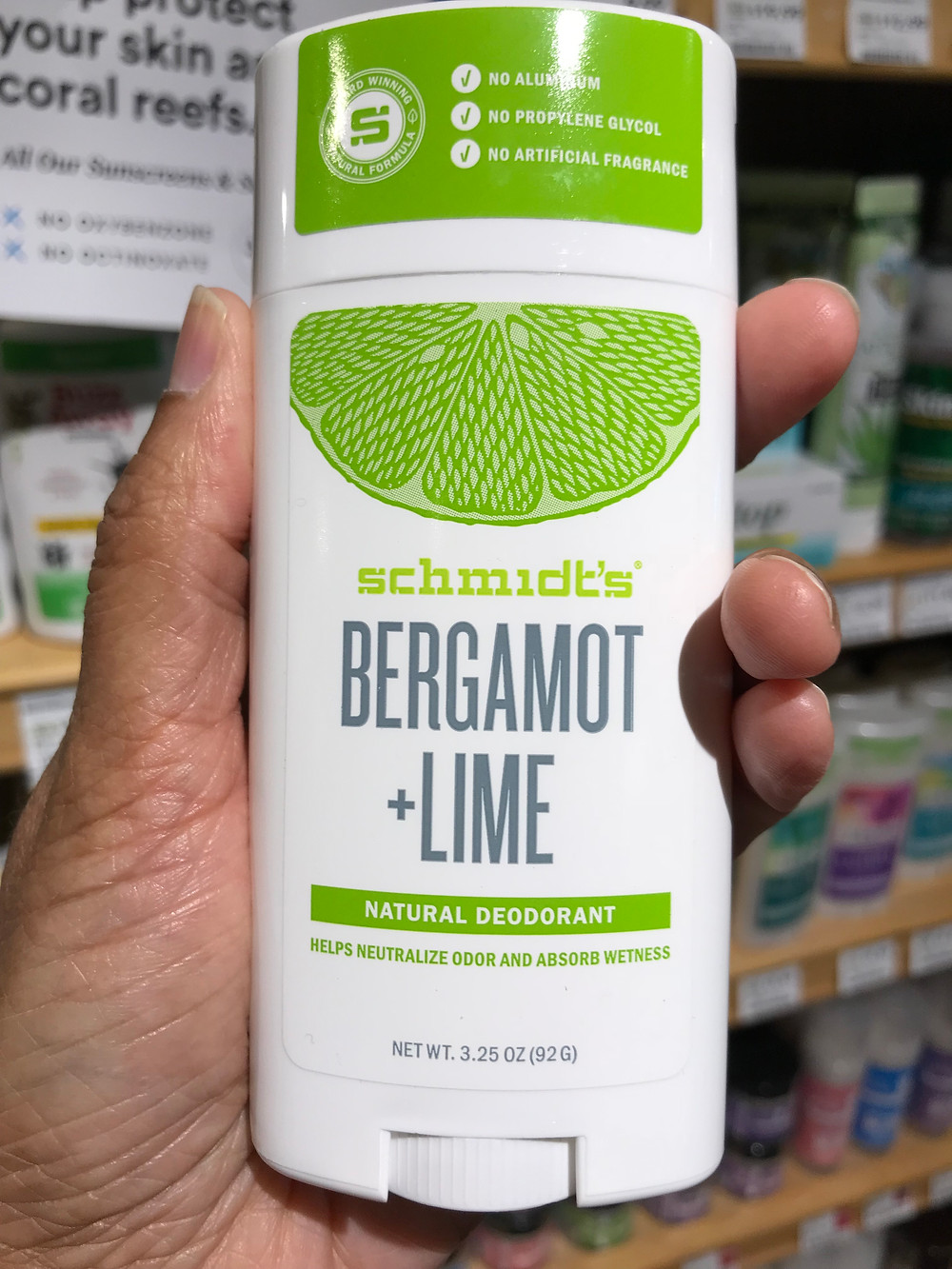 Schmidts bergamot lime deodorant may cause allergic skin reactions in the underarms