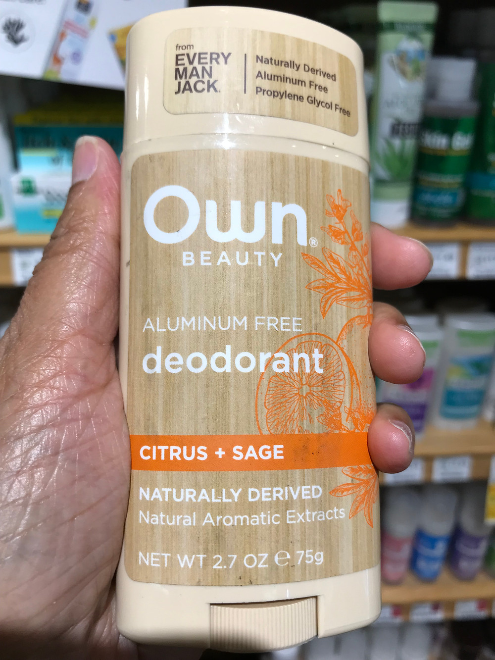 Own beauty aluminum free citrus sage deodorant may trigger allergic skin reactions