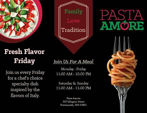 Pasta Amore Brochure Outside