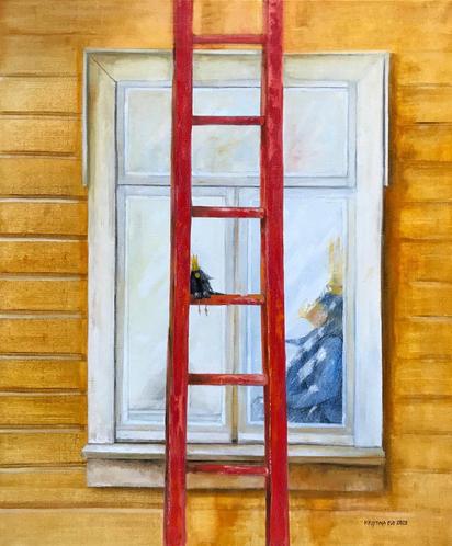 Red ladder 100 cm x 120 cm.  2020