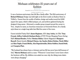 "Avenue Magazine, January 2018: ""Mishaan Celebrates 25 Years Out of Fashion"""