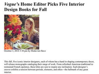 "Vogue, October 2014: ""Vogue's Home Editor Picks Five Interior Design Books For Fall"""