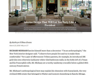 "The Wall Street Journal, March 23 2018: ""Interior Design That Will Let You Party Like A Preside"