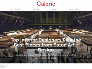 "Galerie Magazine, ""Top Interior Designers Pick the Best Pieces From Salon Art Design"""