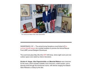 "Palm Beach Daily News, July 3rd 2018:  ""Animal Rescue Fund Designer Showhouse Draws Hampton&#39"