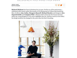 "Editor At Large, January 30th 2018: ""A Quarter Century With Designer Richard Mishaan"""