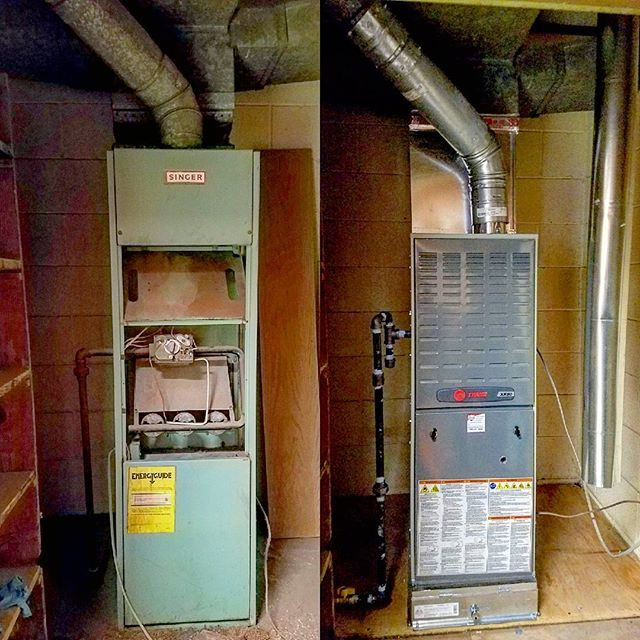 Before and After from 1-5-2018. New 60,000 BTU heat only Trane gas furnace with a 2_ EZ filter box