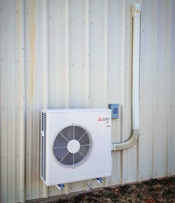 New 2-ton Mitsubishi ductless heat pump we just finished. 20.5 SEER, 12