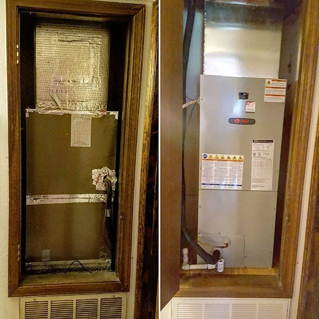 From a 30 year old GE air handler to a new Trane TEM4 air handler. It also received a new refrigeran