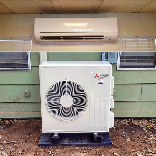 New 2 ton Mitsubishi ductless heat pump with a rated efficiency of  20.5 SEER & 10 HSPF