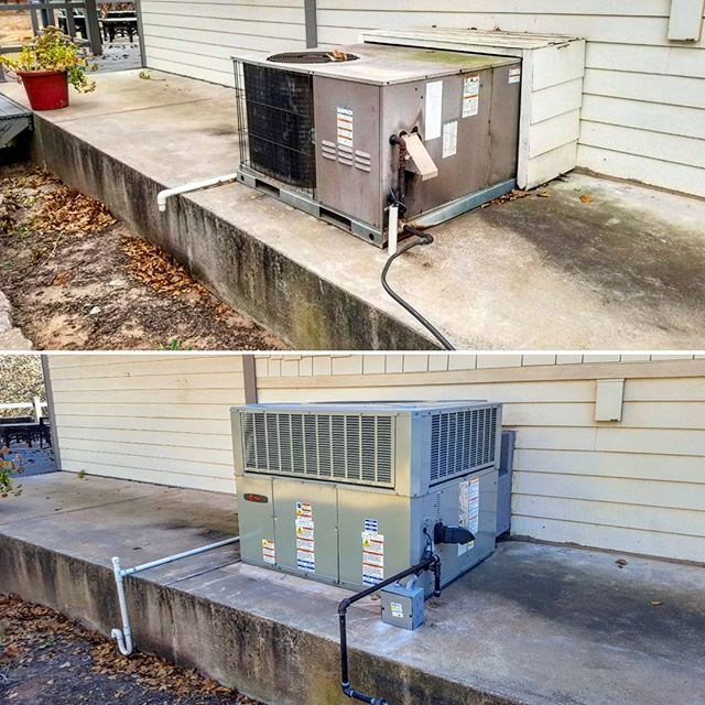 Before and After. Replaced the old Armstrong package unit with a new Trane. 14 SEER, 12 EER, and 81%