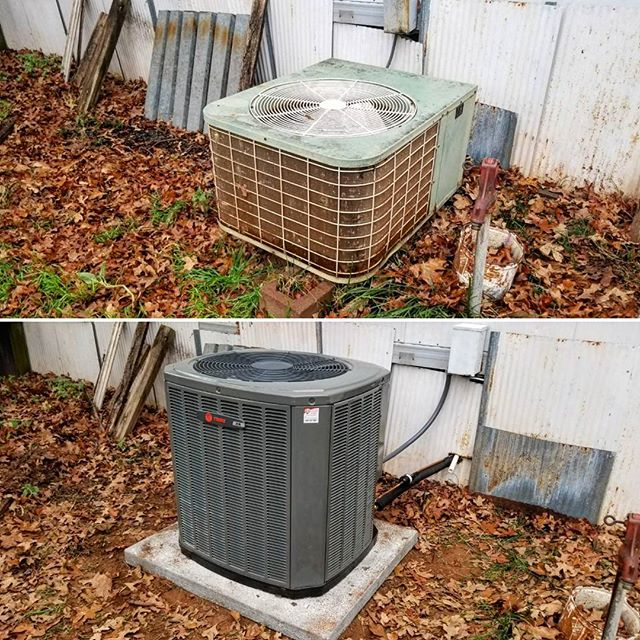 Before and After from today. New 3 ton Trane XR14 SEER air conditioner