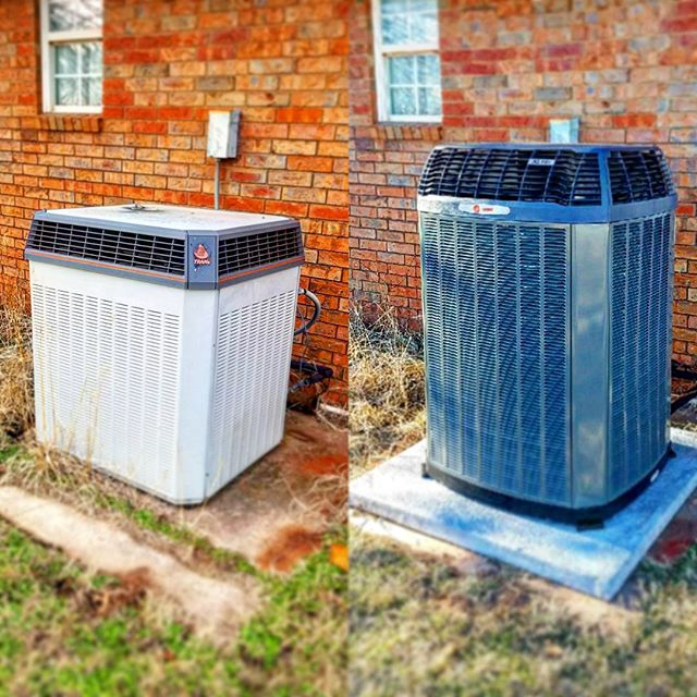 Before and After. From a single stage Trane XL1200 to a Trane multi-stage XL18 with a new pad and el