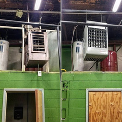 Before and After. We removed the old 75,000 BTU Trent Reznor heater and installed a new 150,000 BTU