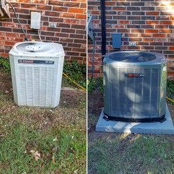 Before and After of a new 2 ton XR14 SEER Trane heat pump with a new pad, whip, and refrigerant line