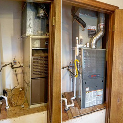 Before and After. All new Trane XT80 furnace paired with an XR16 air conditioner. Efficiency rating