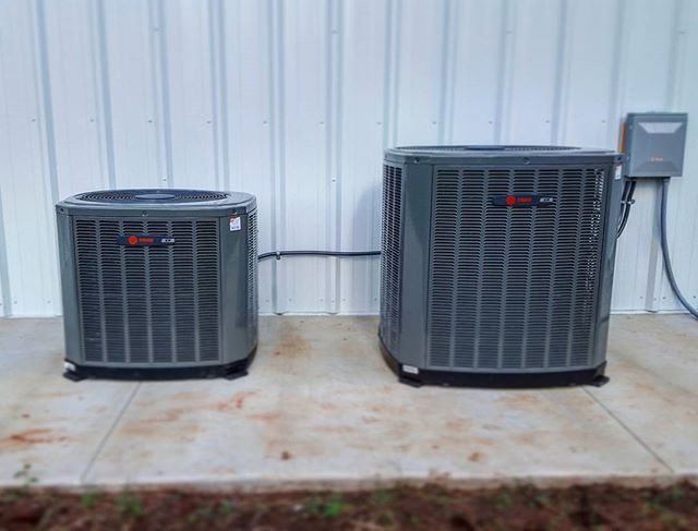 2 new Trane XR16 air conditioners paired with XT80 furnaces. 17 SEER and 14.5 EER efficient