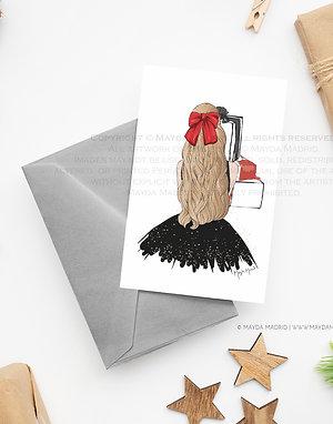 Note Card | Sparkle in Black | Blonde Hair | Digital Download