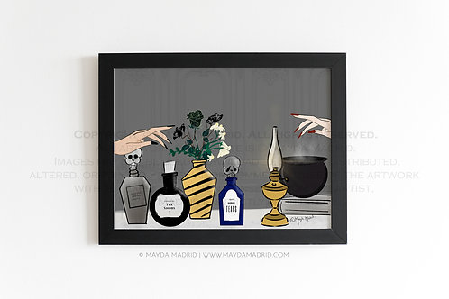 Coffee & Tea Apothecary | Spookish | Stylish Illustration Fine Art Print