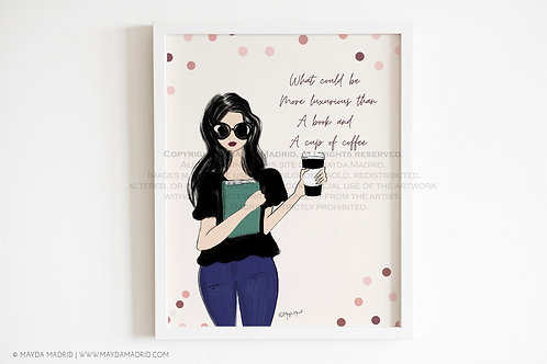 Luxurious Books and Coffee | Fashion Illustration | Bookish Art Print |