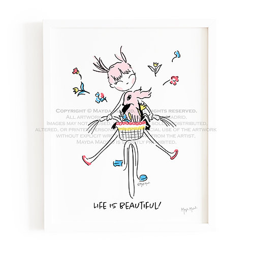Girl On Bicycle | Life Is Beautiful | Illustration | Wall Art |