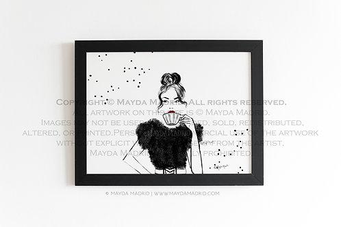 Morning Drink| Coffee | Fashion Illustration | Fine Art Print