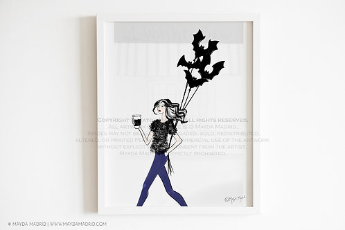 Bats Night Out   Fashion Illustration  Art Print