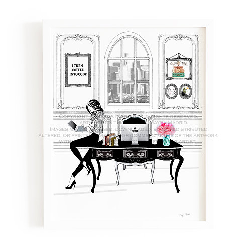 Women who code-limited edition Art Print- Hand Illustrated- Fashion Illustration