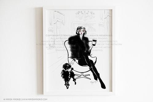 Fashionably Dog Mom | Fashion Illustration | Art Print