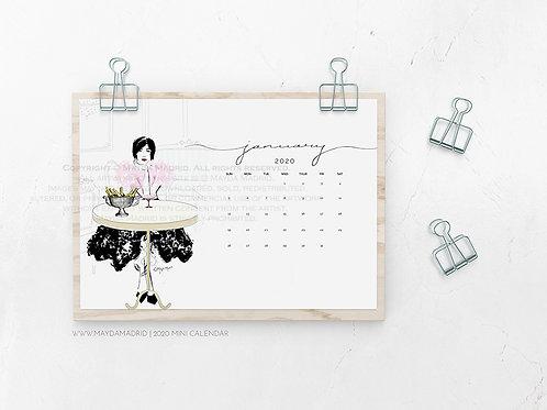 2020 Illustrated Mini Calendar   Fashion Illustration   Desktop   Prints