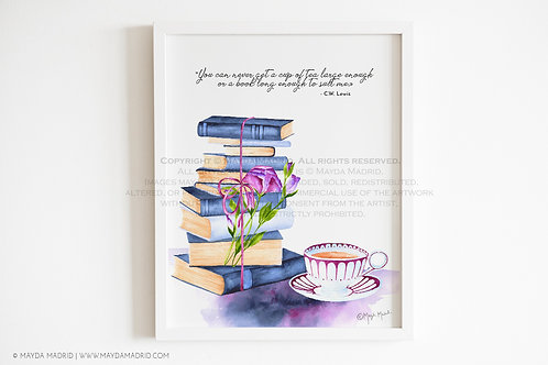 A cup of tea large enough | C.W. Lewis Quote Art Print | Bookish Art