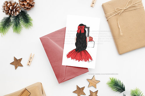 Note Card | Sparkle in Red | Black Hair | Digital Download