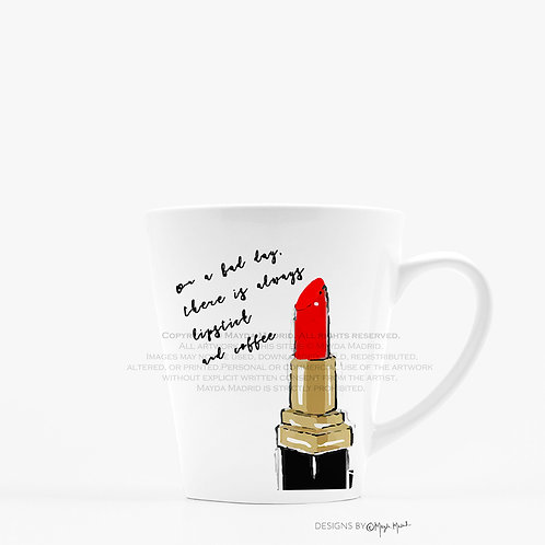Lipstick and Coffee Illustrative Latte Mug