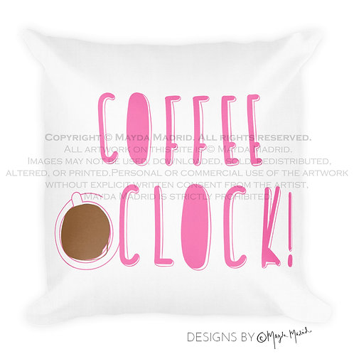 Coffee O'clock Pillow w/insert
