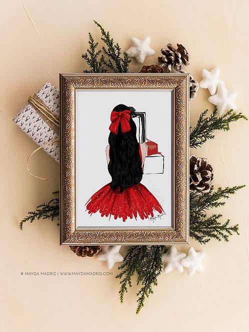 Sparkle in Red   Black Hair   Digital Download Art Print