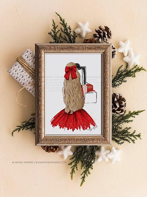 Sparkle in Red | Blonde Hair | Digital Download Art Print