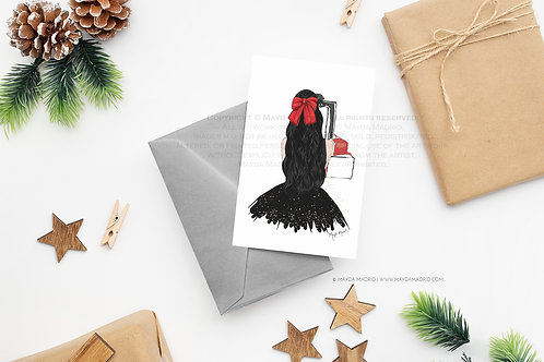 Note Card | Sparkle in Black | Black Hair | Digital Download