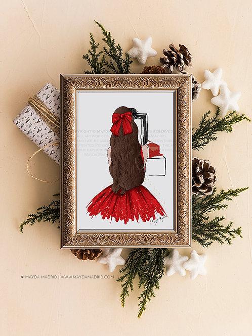 Sparkle in Red | Brown Hair | Digital Download Art Print