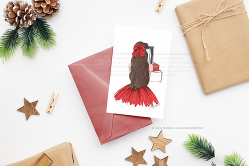 Note Card | Sparkle in Red | Brown Hair | Digital Download