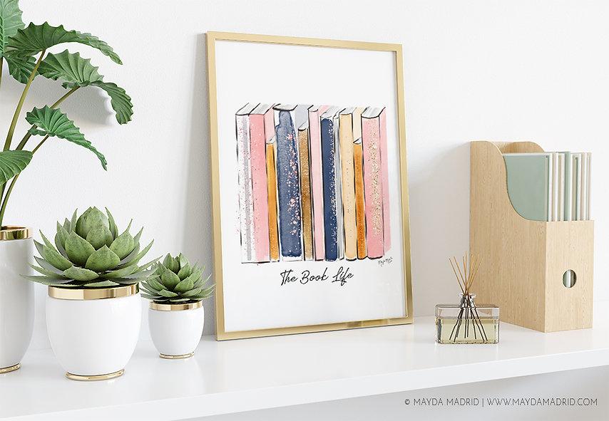 The Book Life-Watercolor Books stack- Ma