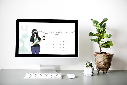 November 2019 Desktop Calendar   Wallpaper   Bookish   Fashion Illustration