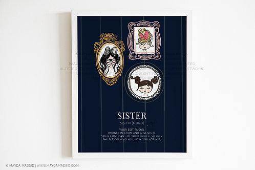 My Sisters | Sister Quote | Cute Wall Art | Art Print