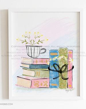 Chamomile Tea and Books |  |  Bookish Art | Fine Art Print