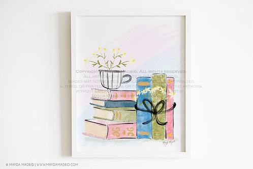Chamomile Tea and Books |  |  Bookish Art | Fine Art Print